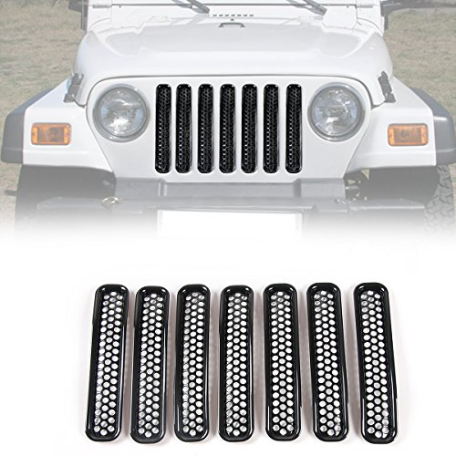 RT-TCZ Black Honeycomb Mesh Front Grill Inserts Kit for 1997-2006 Jeep Wrangler TJ & Unlimited - (7PCS)