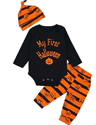 3Pcs/ Outfit Set Baby Boy Girl Infant My First Halloween Rompers(0-3 Months)
