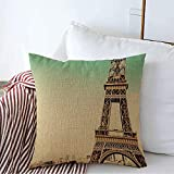 Funda de Almohada Decorative Linen Throw Pillow Cover Section Eiffel Tower Middle Famous Sunlight Destination City Parks Outdoor Design Sightseeing Copy Cushion Case Squaree 24 x 24 Inch
