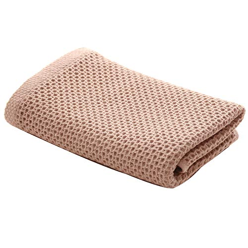 Kingfung Waffle Bath Towel, 55'x28', Extra Large, Ultra Absorbent, Fast Drying, Soft 100% Cotton, Lightweight,Knit Bath Towel(Brow)