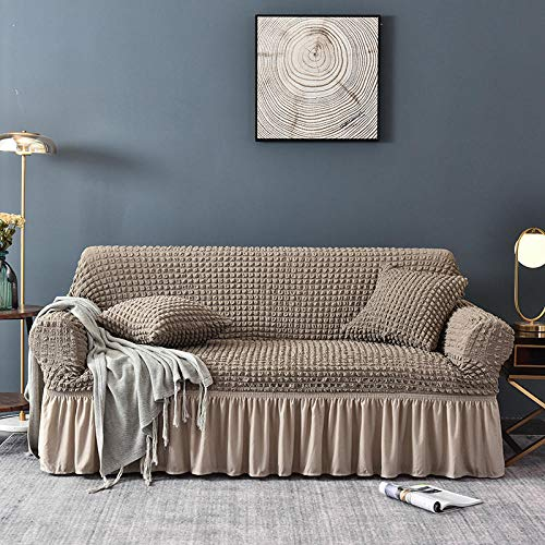 Fsogasilttlv Funda de Sofá Lavable Antiácaros Antiarrugas,Elastic Sectional Corner Sofa Covers For Living Room, Couch Cover Anti Slip Couch Slipcover-Gray 1 Seater 70-120cm(1pcs)