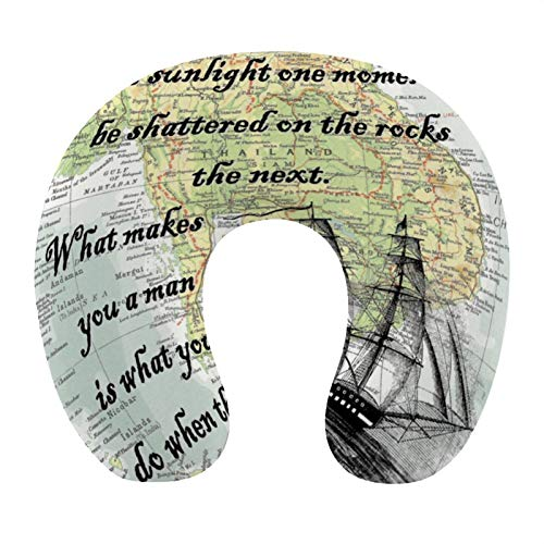 U-Shaped Pillow Neck Pillow Memory Foam Pillow U Shape Map Atlas Page Print Count of Monte Cristo Life Quote Antiguo Home Office Travel Pillow