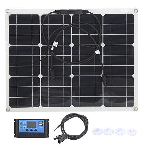 Paneles solares   Panel solar flexible de 40 W,cargador solar USB dual con controlador PWM de 12 V/24 V,kit de panel solar portátil para automóvil,vehículo recreativo,barco,hogar,exterior.(30A)