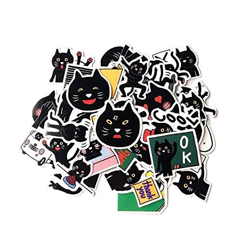 XXCKA 40 Cute Cartoon Black Cat Emoji Bag Hand Account Sticker Maleta Notebook PVC Casco Etiqueta engomada del Coche