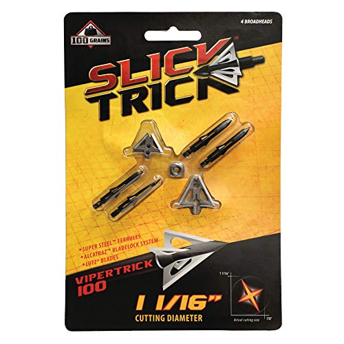 Slick Trick Viper 100 GR Broadhead (Pack of 4), 1-1/16', Black