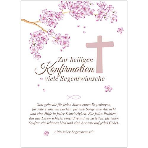 Glückwunschkarte Konfirmation mit Umschlag/Rosa zur heiligen Konfirmation/Konfirmationskarten/Karte für Glückwünsche/Feier