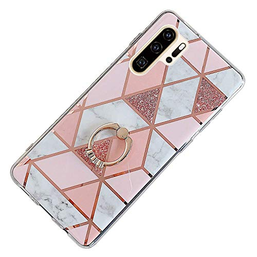 Herbests Kompatibel mit Huawei P30 Pro Hülle Bunt Marmor Muster TPU Silikon Handyhülle Glänzend Bling Glitzer Diamant Strass Ring Halter Ständer Crystal Case Tasche Schutzhülle,Rosa