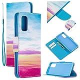 Nadoli Flip Custodia per Samsung Galaxy A51,Blu Cielo Pu Pelle a Libro Chiusura Magnetica Cinturino da Polso Portafoglio Cover Caso con Funzione Stand