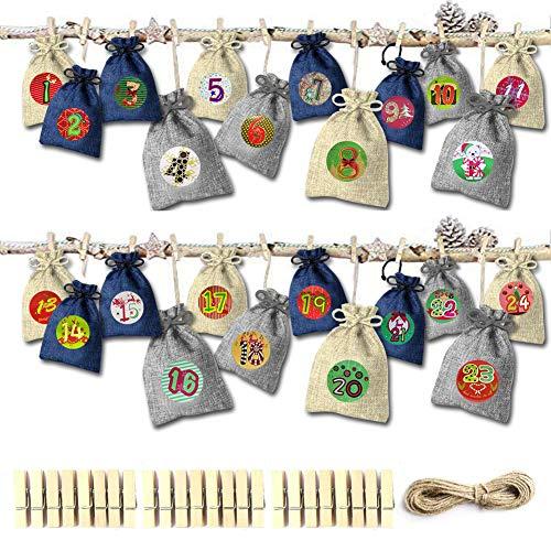 Adkwse Adventskalender zum Befüllen - 24 Stoffbeutel Weihnachten Geschenksäckchen, 1-24 Adventszahlen Aufkleber, Basteln Füllung für Kinder, Dekorativ Weihnachtskalender Bastelset