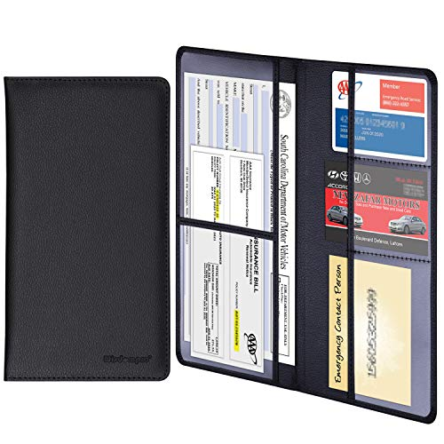 Wisdompro Car Registration and Insurance Documents Holder - Premium PU Leather Vehicle Glove Box Paperwork Wallet Case Organizer for ID, Driver's License, Key Contact Information Cards (Black)