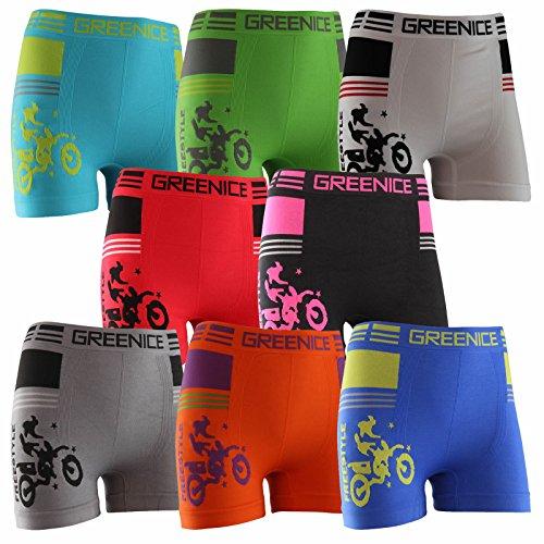 Lavazio 4er Set Kinder Jungen sportliche Mikrofaser Boxershorts Motiv Motorrad, Farbe:Mehrfarbig, Größe:10-12 Jahre
