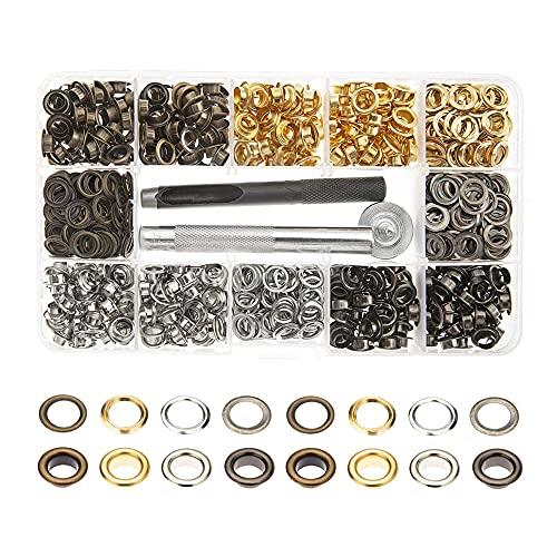 MOPOIN Juego de herramientas para ojales, 400 juegos de arandelas de ojales Juego de alicates para ojales de 6 mm con herramienta para ojales de 3 piezas para tela artesanal de cuero DIY