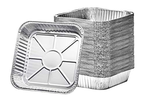 """[30 Pack] 8"""" Square Disposable Aluminum Cake Pans, Foil Pans Food Containers Perfect for Baking Cakes, Cooking, Roasting, Homemade breads"""