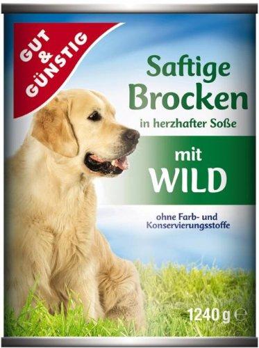 Gut & Günstig Hundefutter Saftige Brocken mit Wild 1240g