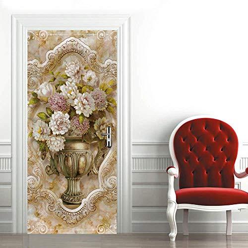 3D Mural para Puerta 77X200Cm Autoadhesivo Impermeable Papel Pintado Puerta para Sala de Estar Baño Extraíble Vinilo Adhesivo de Pared,DIY Decoración del Hogar - Flores y Jarrones