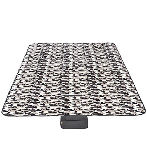 HM&DX Outdoor Picknickdecken Wasserdicht Feuchtigkeitsbeständig Picknickdecke campingdecke Fleece Verdicken sie Faltbar Tragbare Picknick-Matte Für strandpark wandern-grau 180x150cm(71x59inch)