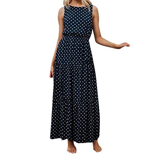 Ansenesna Kleid Damen Sommer Lang Elegant Schick Punkte Maxi Sommerkleider Vintage Viscose Abendkleid Für Party Hochzeit Gast (XL, Marineblau)