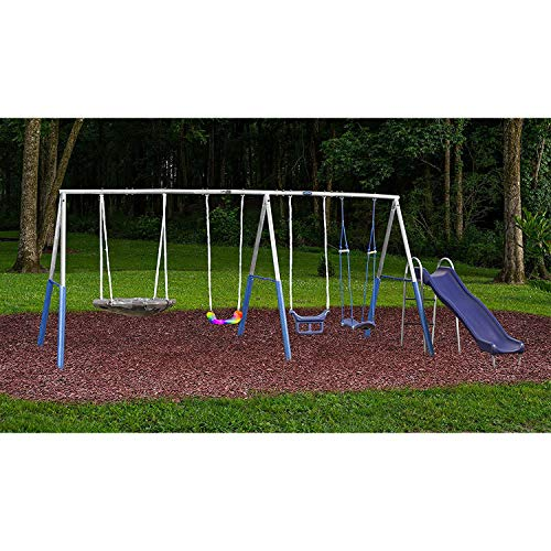 Surf N Swing'in Plus+ Galvanized Swing Set - 5 Stations up to 6 Kids - Rust Free Metal Construction