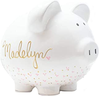 Personalized Piggy Bank for Girls, Pink Hearts and Gold Name | Large White Ceramic Piggy Bank | Unique New Baby, Baptism or Birthday Gift | Hand Painted
