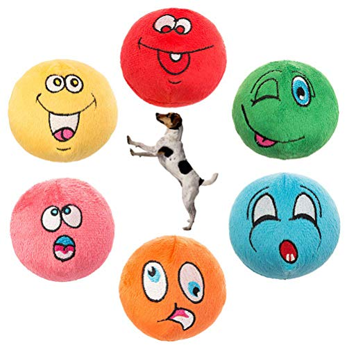 KOOLTAIL Dog Squeaky Toys Plush Balls 6 Pack - Small Dog Toys Cute Soft Interactive Chew Toy for Puppy Small Medium Dogs & Cats
