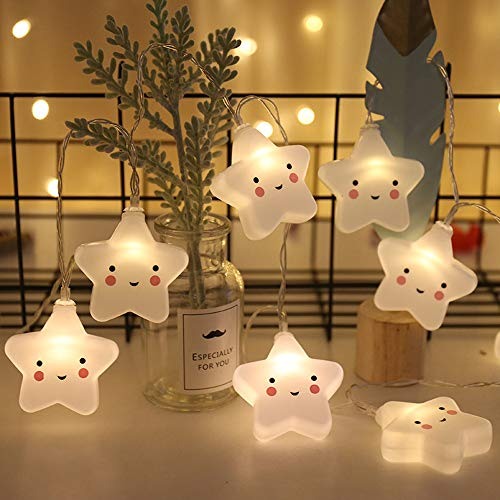 Bebé Niños Lámpara de forma linda Luz de la habitación Decoración del pasillo Luz de noche pequeña Halloween Navidad Luces de cadena de vacaciones con pilas Fiesta aula Decoración (Estrella)