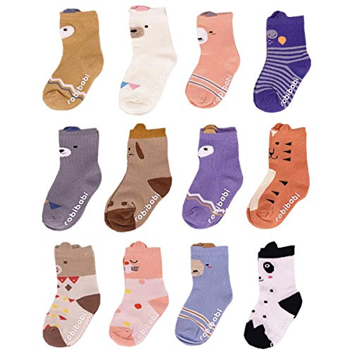 Nuziku Baby Toddler Girls Crew Grip Socks, Anti Slip Non Skid Animal Cotton Stockings 12 Pairs (Multicoloured, 0-2 Years)