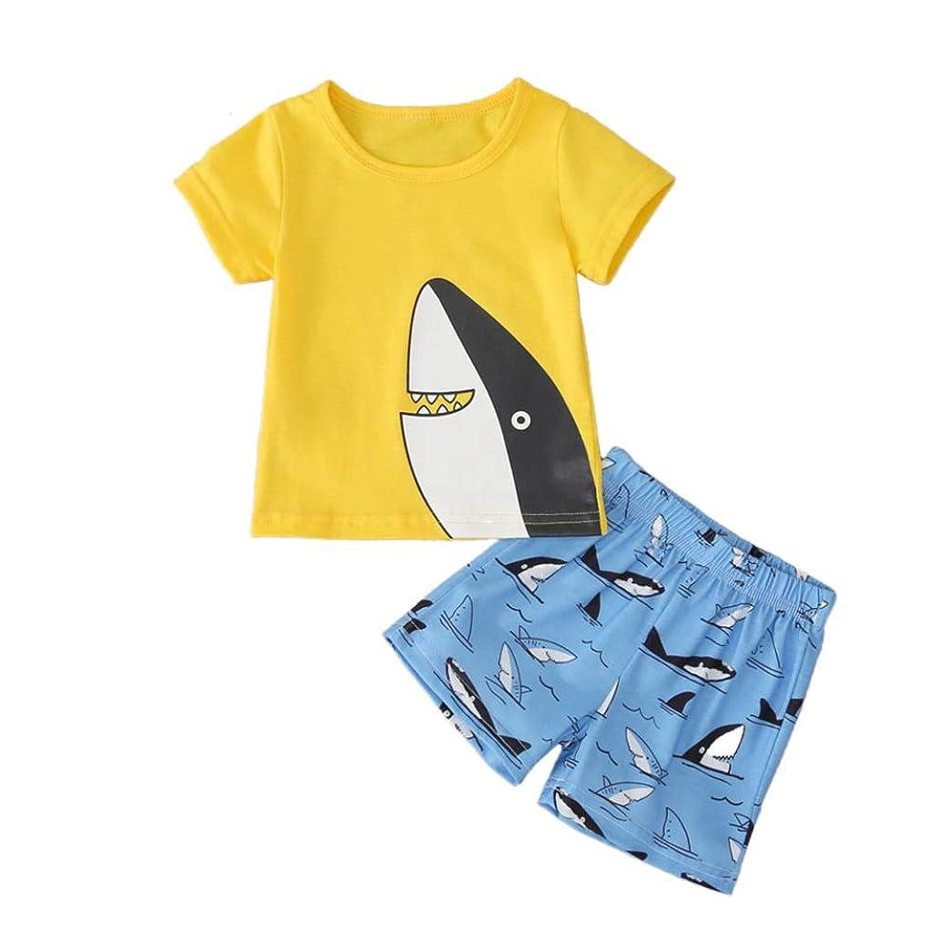 値下げ煩わしい湿地子供服 夏 男の子 綿 黄色 Tシャツ&ブルーパンツ ビーチ服 新生児 幼児3-24ヶ月