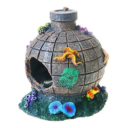 Saim Resin Aquarium Decoration Aqua Landscape Artificial Colorful Aquatic Caves Hide Hut for Fish Tank, Aquarium Ornament