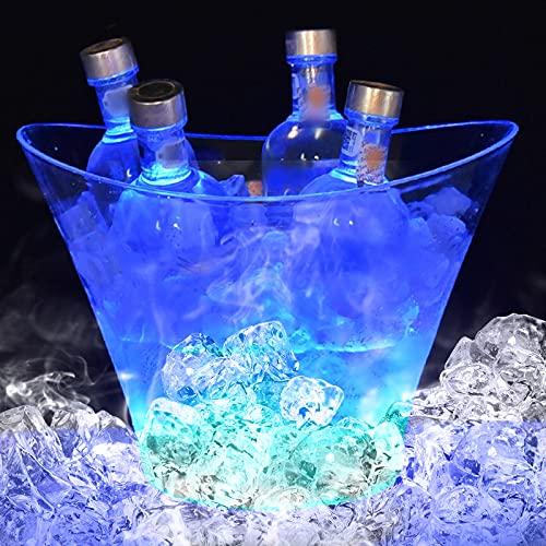 Cubitera LED con cambio de color de champán, enfriador de bebidas, 6 L, cubo enfriador de botellas, enfriador de vino, para KTV, fiesta, hogar (no incluye pilas)