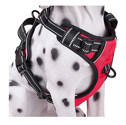ZYHWS Hundegeschirr für Hunde, verstellbar, Nylon, für große und mittelgroße Hunde, kein Ziehen, Farbe: Rot, Größe: L