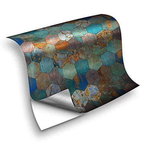 Hiseng 25 Piezas Mármol Adhesivos Decorativos Azulejos Pegatinas para Baldosas del Baño/Cocina Estilo Mosaico Metal Retro - Clásico Resistente al Agua Pegatina de Pared (10x10cm,Turquesa)