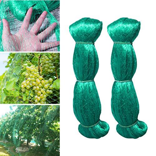 Hywean 2 Pack Red para Pájaros, Red de Jardín 2MX5M Malla Antipájaros Red para Estanque Multiusos, Malla de Protección de PE para Frutas Plantas Verduras Jardín (Verde, 15X15mm Agujeros)