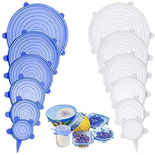 ZJZ, coperchi elasticizzati per alimenti, riutilizzabili, in silicone, per alimenti, ciotole, contenitori, barattoli alternativi alla pellicola trasparente