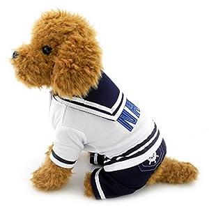 Ranphy Petit Chien/Chat pour animal domestique Vêtements pour filles garçons Bleu marine Captain Costume de marin pour chien quatre pattes pour femme