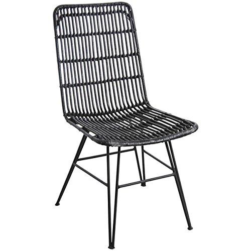 PEGANE Chaise Noire en rotin et métal - Dim : 46 x 58 x 91 x H 44 cm
