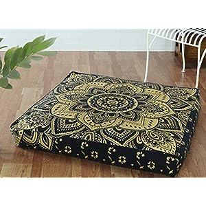 Popular Handicrafts Funda de almohada para suelo de mandala hippie indio, cuadrada, funda de cojín de algodón de gran…   DeHippies.com