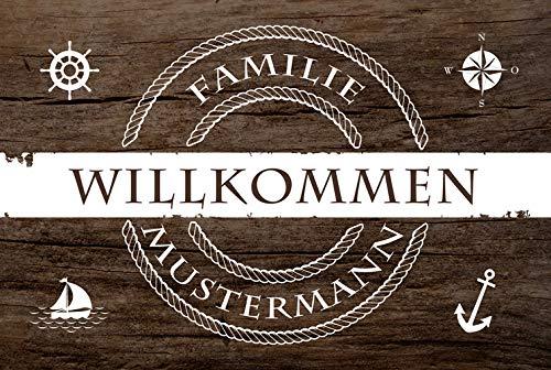 Eule-Design Personalisierte Fußmatte Heimathafen mit Namen Ihr Geschenk für Familie Paare Männer Frauen (67x44, Holz Motiv)