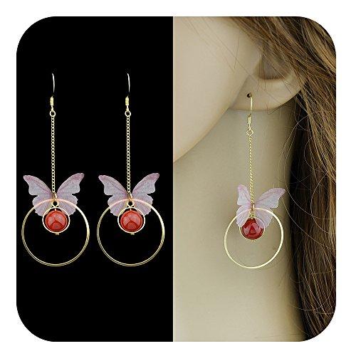 Feelontop® Heiße Frauen Lange Goldkette Rosa Schmetterling Großen Kreis Rote Perle Ohrringe mit Schmuck Beutel