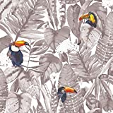Tempaper TO10528 Toucan Removable Peel and Stick Wallpaper, Newspaper