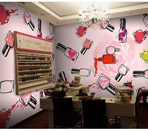 Eufjsdhf fotobehang mode handgeschilderd aquarel schoonheid parfum manicure winkel cosmetica 3D foto behang 200 cm x 140 cm