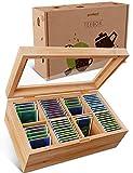 goodspot® Premium Teebox aus Bambus mit 8 Fächern 30 x 19 x 9 cm Teekiste mit luftdichtem...