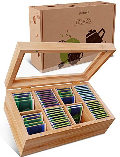 goodspot® Premium Teebox aus Bambus mit 8 Fächern 30 x 19 x 9 cm Teekiste mit luftdichtem Magnetverschluss nachhaltige Tee Box mit extra großer Sichtscheibe aus Glas