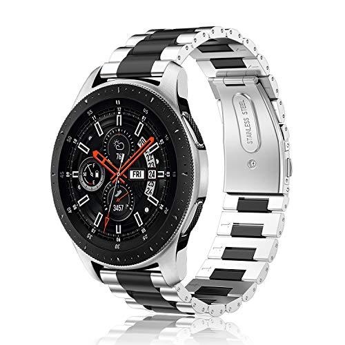 FINTIE Correa Compatible con Samsung Galaxy Watch 3 (45mm)/Galaxy Watch 46mm/Gear S3 Classic/Gear S3 Frontier - Pulsera de Repuesto de Acero Inoxidable, Plateado+Negro