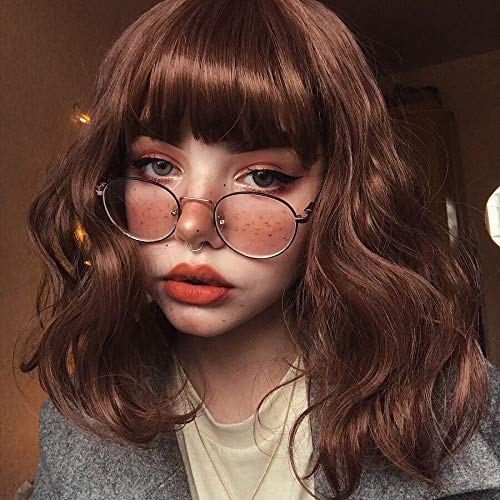 Lizzy Hair Brown Wigs for Women Natural Looking Wavy Wig Heat Resist Synthetic 14inch Curly Short Bob Wig with Air Bangs Brown Wig for Daily Use(Color:Reddish Brown)