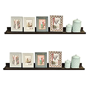 WELLAND Set of 2 Floating Wall Ledge Shelves for Pictures and Frames, Approx 47 1/4 Inches Long, Espresso