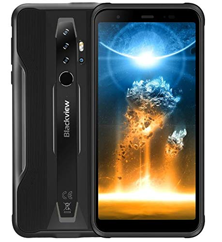 Blackview BV6300 Pro Outdoor Smartphone Android 10, 11,6 mm Ultra Dünn, Helio P70 6GB+128GB, 16MP Quad-Kamera HDR, Kabelloses Laden, Wasserdichtes Stoßfestes IP68 Handy, 5,7'' HD +, NFC Schwarz