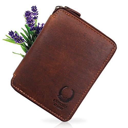 Corno d´ORO Damen Leder Geldbörse mit Reißverschluss, Herren Geldbeutel RFID Schutz, Vintage Portemonnaie braun in Geschenkbox 1406