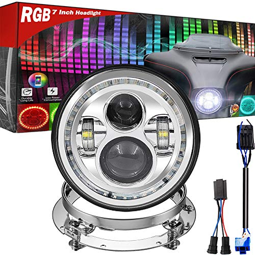 7 Inch LED Headlight HD Street Glide Special, with Bracket, Cellphone Bluetooth Controlled Multicolor Angel Eye, Road King Special Headlamp Hi-Lo Beam Projector with RGB Music Halo