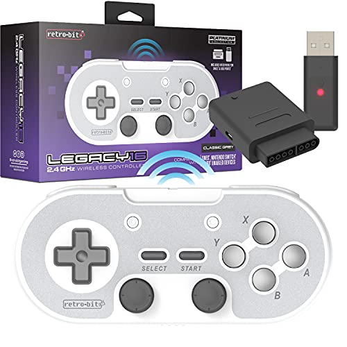 Retro-Bit Legacy 16 Wireless 2.4GHz Controller for SNES, Switch, PC, MacOS, RetroPie, Raspberry Pi and Other USB Devices - Classic Grey