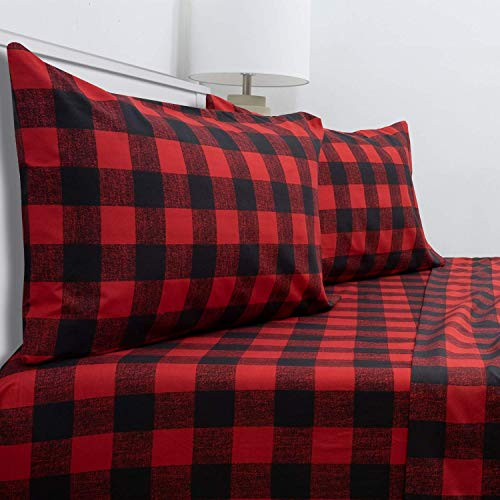 Dazzles Collection Lightweight Buffalo Plaid 100% Cotton 4 Piece Sheet Set Gingham Check Fit 16'-20' Inch Extra Deep Pocket [ Twin, Red/Black ]